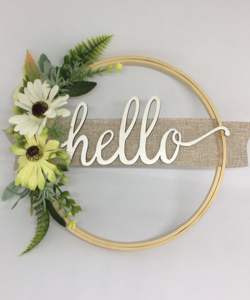 Door Sign Floral Wreath with Hello-All-Times-Gifts