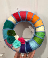Rainbow yarn wreath-All-Times-Gifts