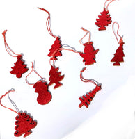 9pcs/Set Glitter Red Christmas Decor-All-Times-Gifts