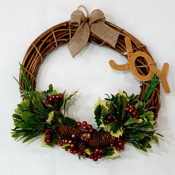 Golden Christmas wreath with JOY-All-Times-Gifts