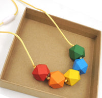 Wooden Rainbow Geometric Necklace-All-Times-Gifts