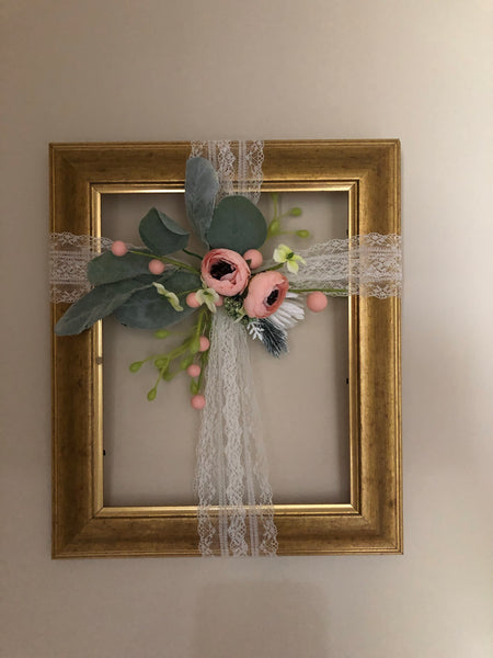 Golden frame with elegant floral cross-All-Times-Gifts