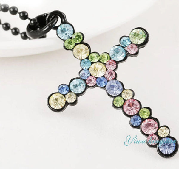 Cross Colourful Rhinestone Necklaces-Jewellery-All-Times-Gifts