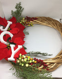 Golden Rattan Wreath with JOY-Christmas Gifts-All-Times-Gifts