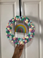 Candy colours pom-poms wreath-All-Times-Gifts