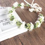 Head Crown White with Green Buds-All-Times-Gifts