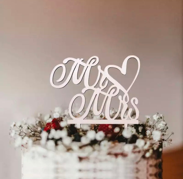 Mr & Mrs Heart Cake Topper-Cake Topper-All-Times-Gifts