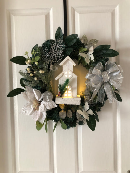 Christmas wreath with church-All-Times-Gifts