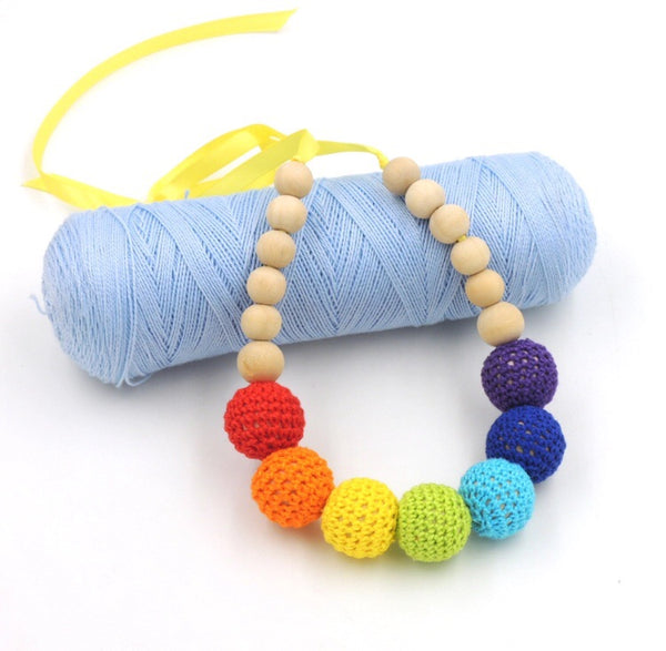 Rainbow Crochet Balls Necklace-All-Times-Gifts