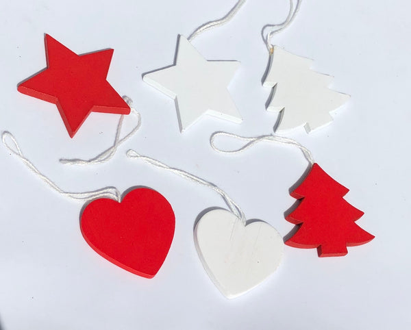 6pcs/Set Christmas Wooden Red/White Decoration-All-Times-Gifts