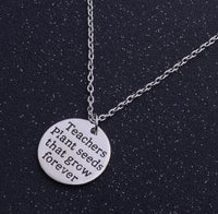 "Teachers Necklace ""Teachers Plant Seeds That Grow Forever""-Teacher's Gifts-All-Times-Gifts"