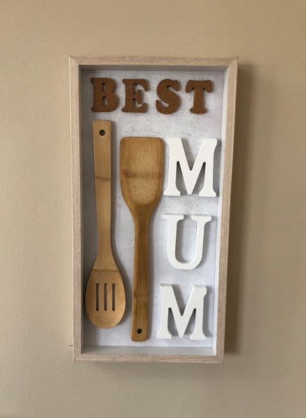 Best Mum Shadow Frame with Bamboo Spoons-All-Times-Gifts
