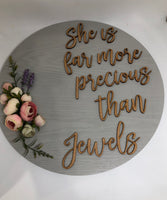 "Round Plaque ""More precious than jewels""-All-Times-Gifts"