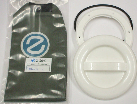 A337WR-BAG - 100MM HATCH COVER - WHITE with o-ring and bag