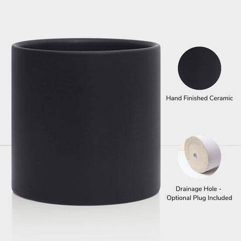 Hand Finished Black Ceramic Planter with Drainage Hole - Optional Drainage Plug Included