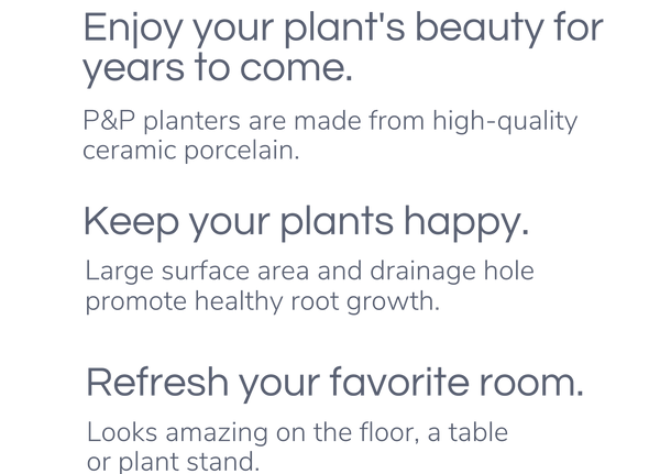 Enjoy Your plant's beauty for years to come. P&P planters are made from high-quality ceramic porcelain. Keep Your Plants Happy - Large surface area and drainage hole promote healthy root growth. Refresh Your Favorite Room - Looks amazing on a table, on the floor, or on a plant stand.