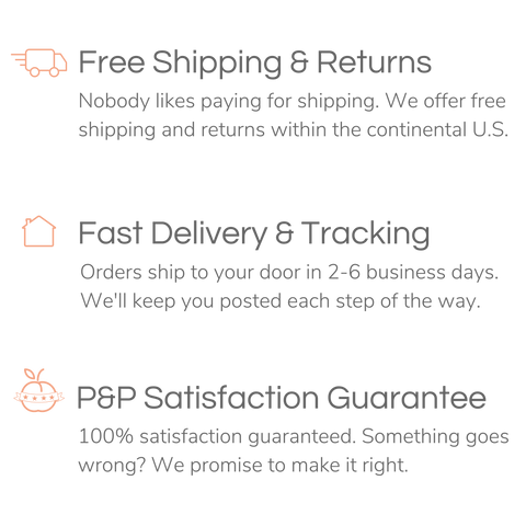 Free Shipping and Free Returns, Your order will deliver to your door in 2-6 business days, 100% Satisfaction Guarantee - If something goes wrong, we promise to make it right.