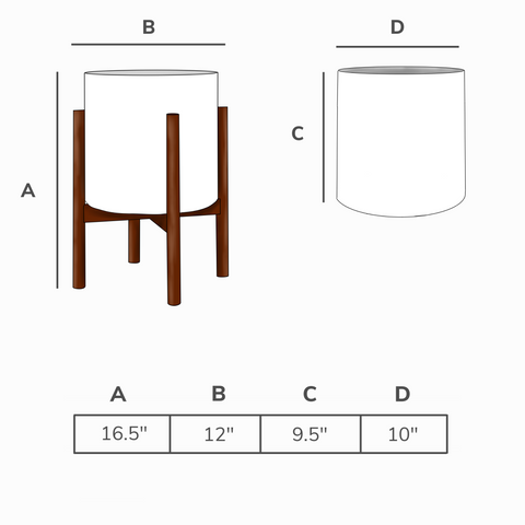 Planter and stand dimensions