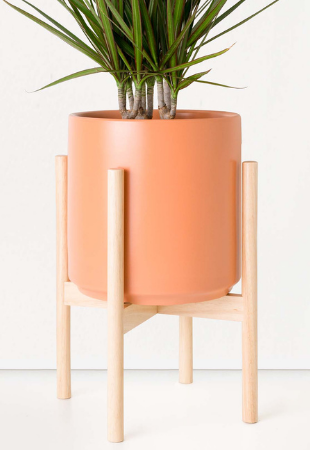 Classic Ceramic Planter + Wood Stand