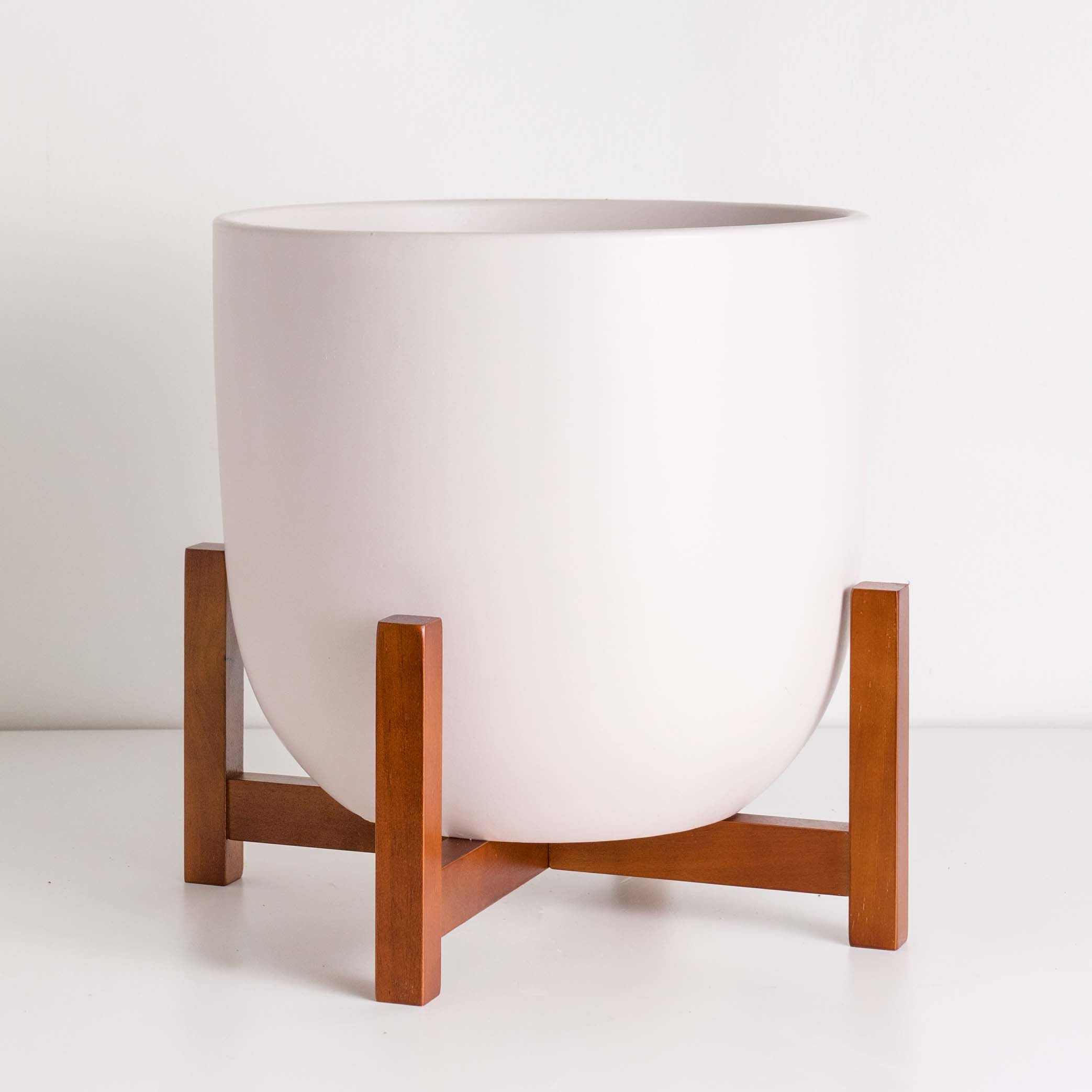 Contour Ceramic Planter + Wood Stand