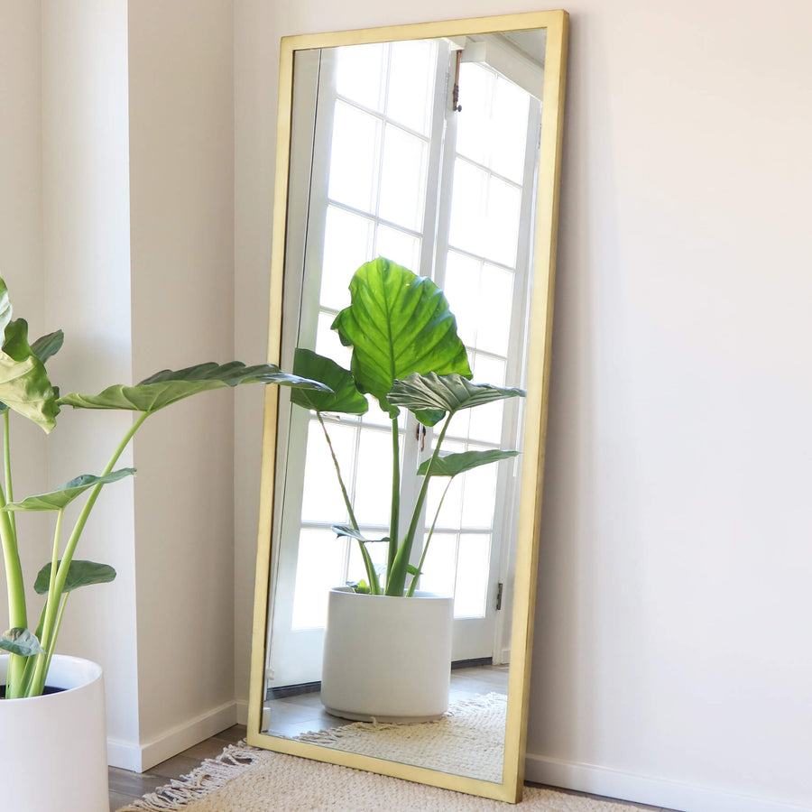 Brass Floor Mirror Tall Gold Accent Mirror