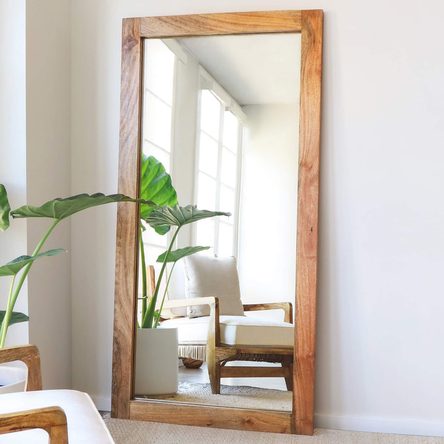 Wood Frame Tall Wall Mirror Accent Mirror