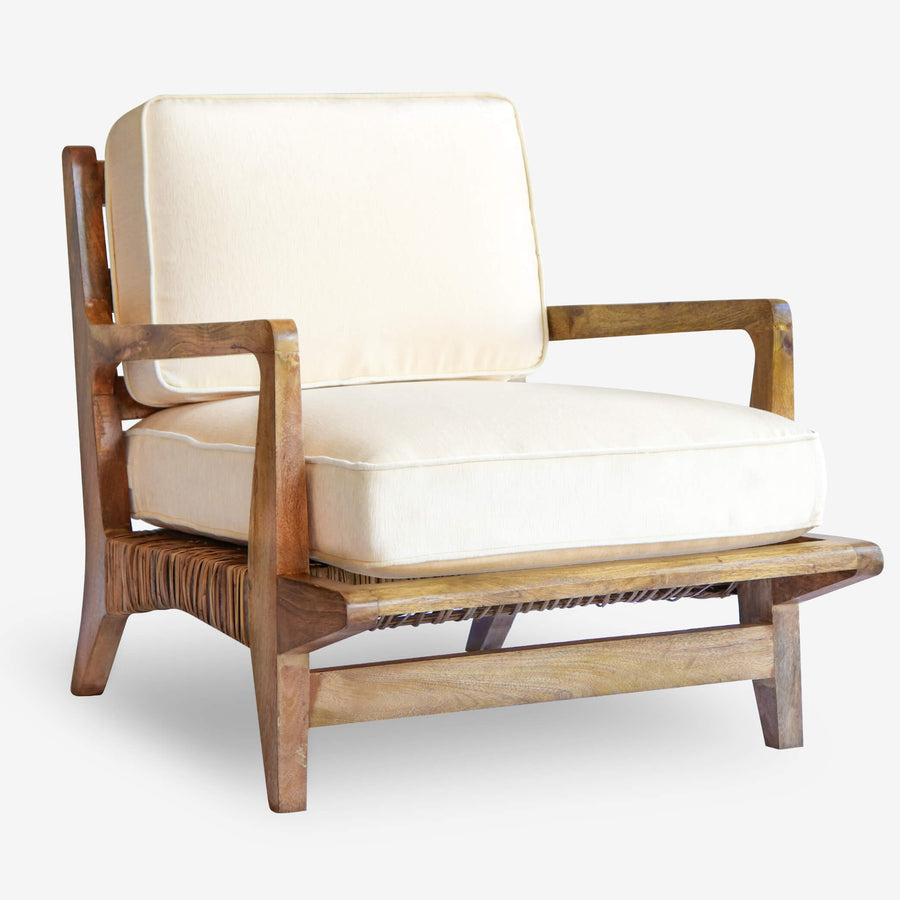 Modern Boho Rattan Accent Chair Cream Cushions Wood Frame