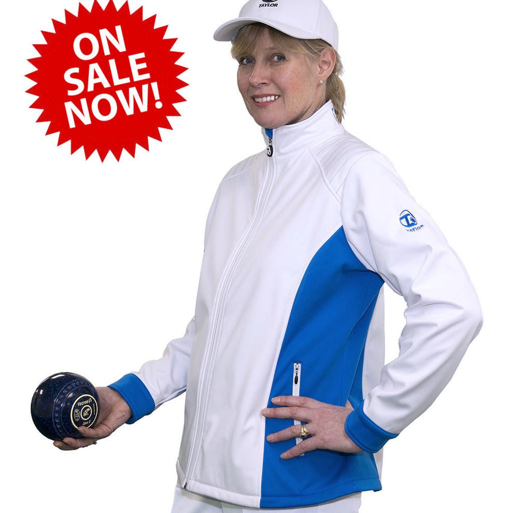Ladies Softshell White & Blue Jacket SALE