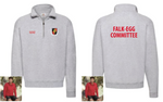 Falk Egg Committee Zip Neck Sweat - Red text