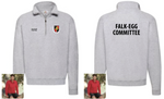 Falk Egg Committee Zip Neck Sweat - Black text