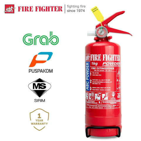 [GRAB DRIVER EXCLUSIVE] Fire Fighter 1KG Portable Fire Extinguisher (Puspakom Inspection Ready, SIRIM & Bomba Approved)