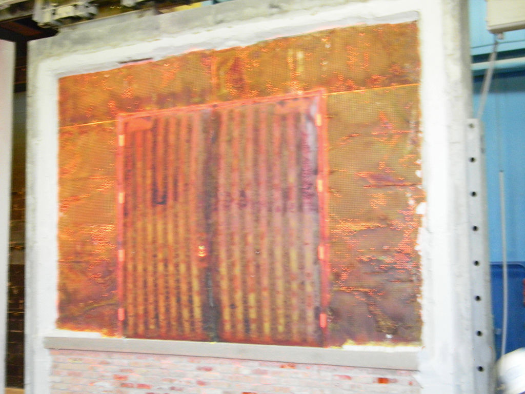 Double fire door immediately after 3 hour fire test inside a 4-hour rated Durasteel wall.