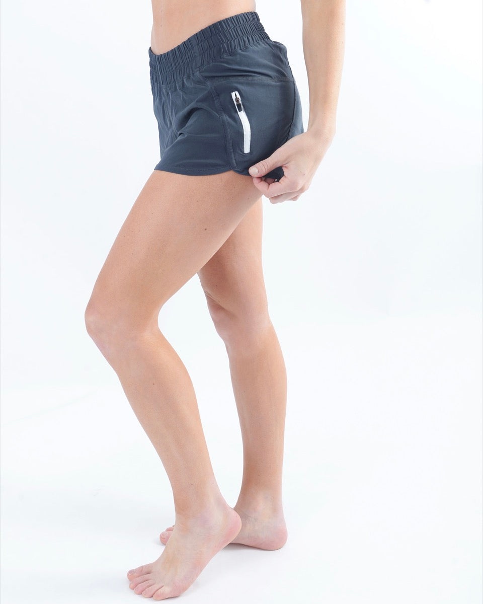 ZYIA Track Shorts in Gray