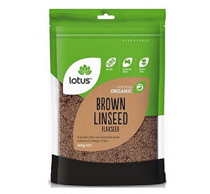 LOTUS BROWN LINSEED 500GM ORGANIC