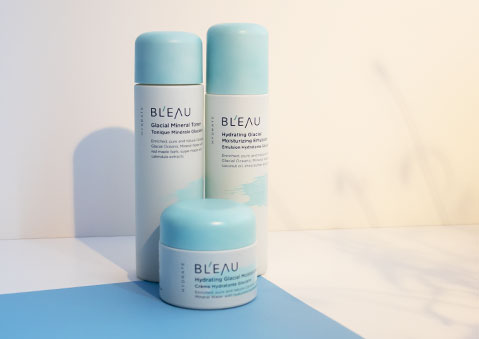 Bl'eau Glacial Oceanic Mineral Water infused Hydrate Collection Glacial Mineral Toner, Emulsion and Cream