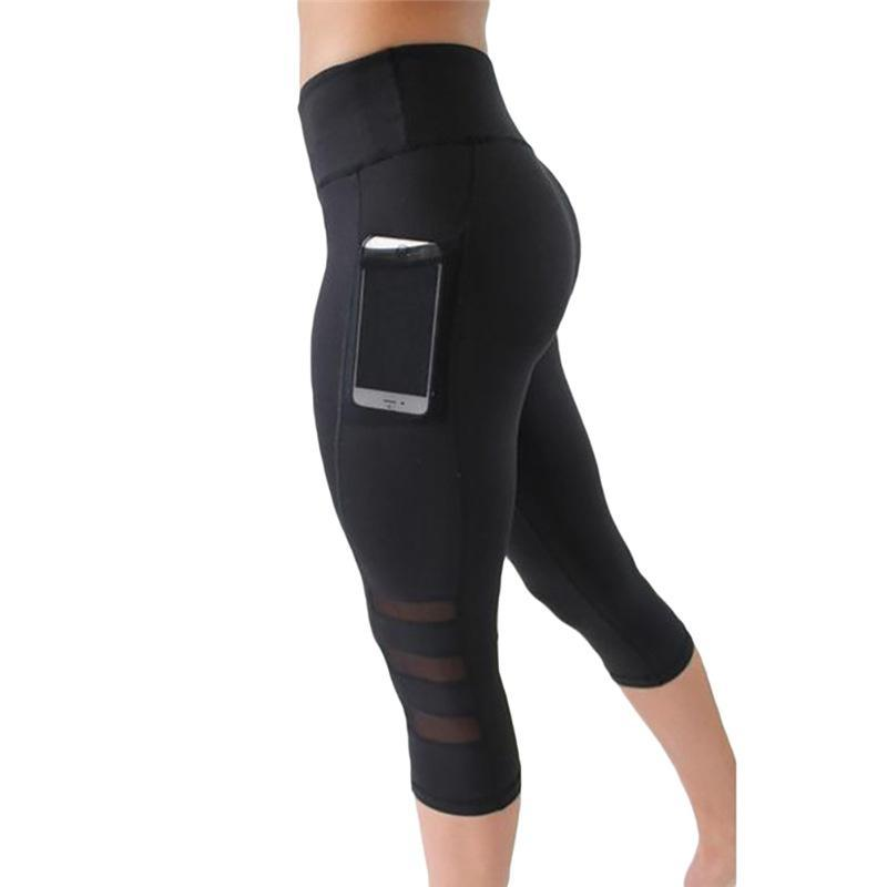 Mesh Panel Fitness Capris with Side Pocket