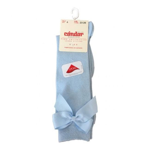 BOW SOCKS - Condor Baby Blue Knee High Socks