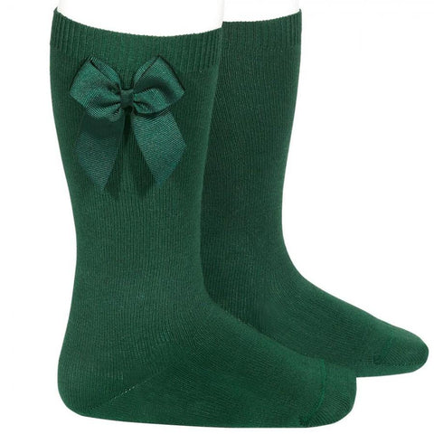 BOW SOCKS - Condor Bottle Green Knee High Socks