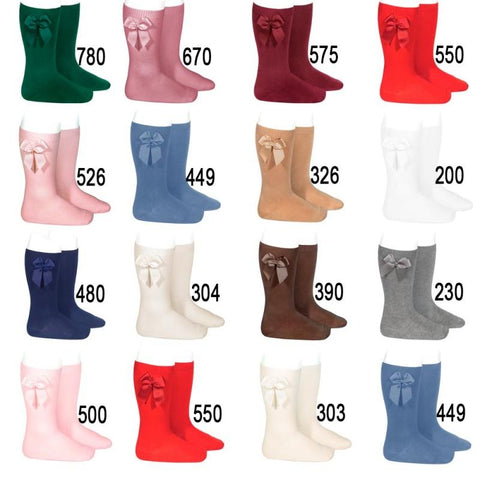 BOW SOCKS - Condor Dusky Pink Knee High Socks (526)