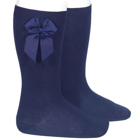 BOW SOCKS - Condor Navy Knee High Socks.