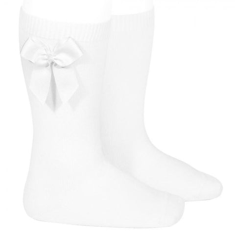 BOW SOCKS - Condor White Knee High Socks