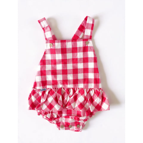 Babidu Red Gingham Romper