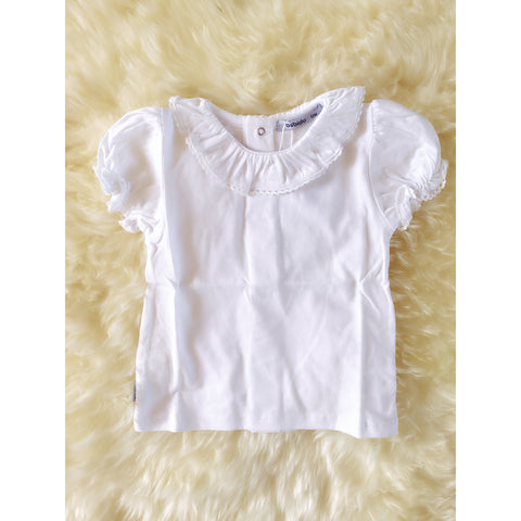 White Short Sleeve Frill Collar blouse