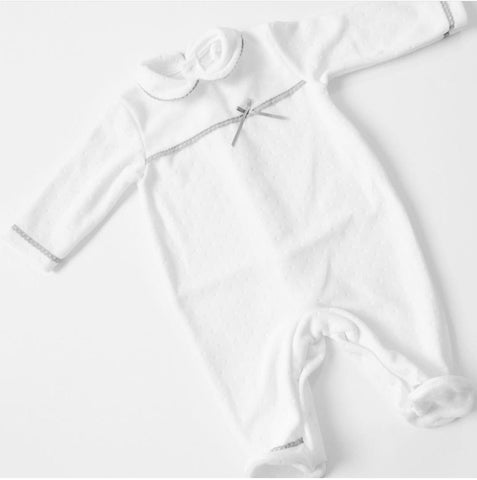 Knitwear - White Velour Baby Grow