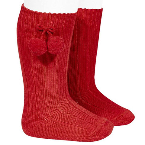 Pom Pom Socks - Red Condor Long Ribbed Pom Pom Socks