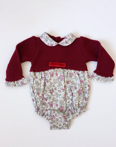 Romper - Red Knitted Top Baby Romper