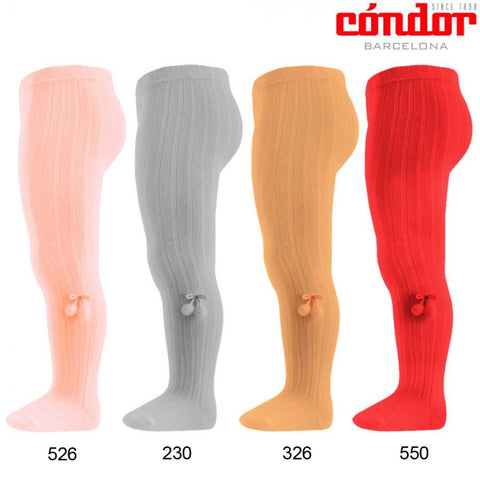 Tights - Condor Red Pom Pom Tights
