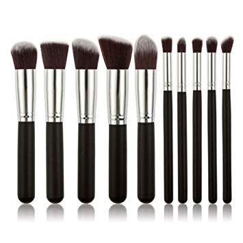Professional Soft Make Up Brush Set (Black Silver) - 10 Pieces