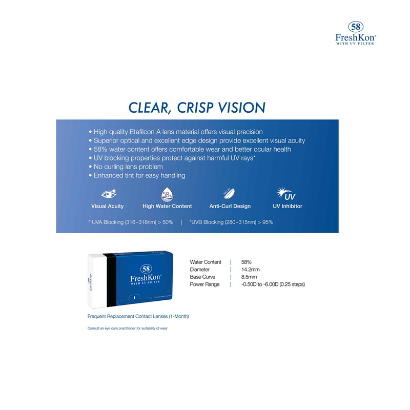 58 Clear Contact Lens Box of 6 Grade -425