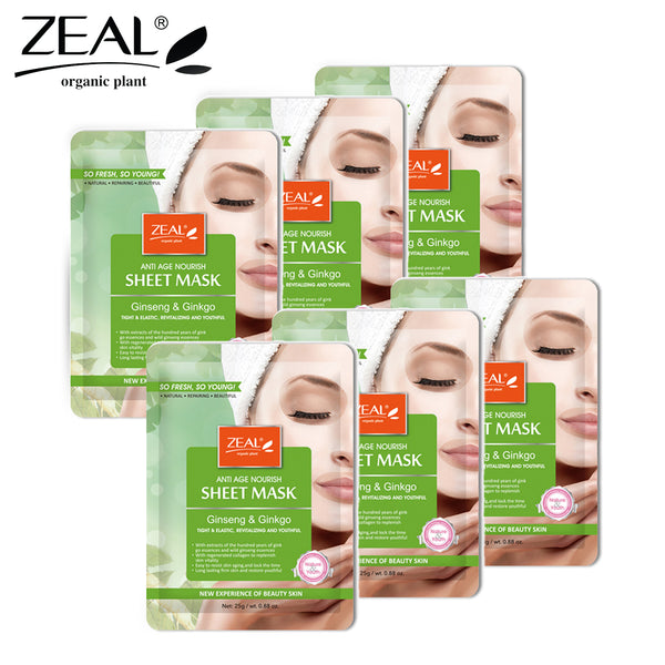 THEKULT.COM. Zeal. Ginseng & Ginko Revitalizing Sheet Mask (6pcs)